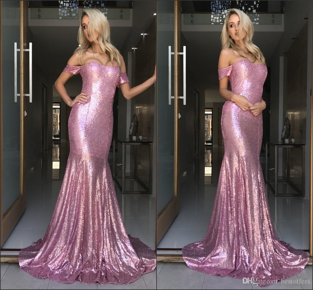 2018 paillettes scintillantes sirène de bal robes de l'épaule longue robe de soirée Pageant Sexy Shinny formelle de soirée de bal usure