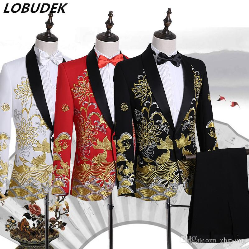 2019 Wholesale Male Performance Suits Singer Host Wedding Performance Clothes  Formal Prom Stage Chorus Dress Costumes White Embroidery Slim Suits From ... 248b9f783404