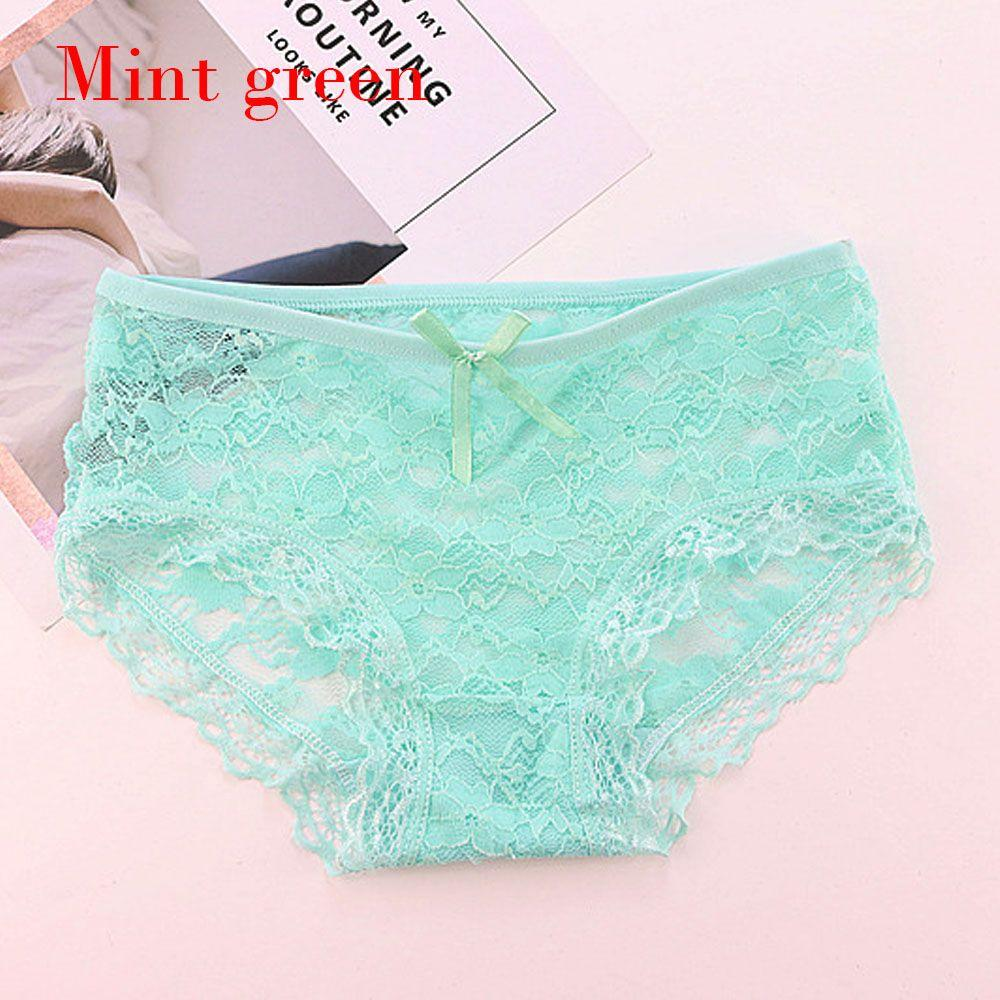 2019 Summer Green Transparent Floral Bow Low Rise Hollow Lingerie Cotton  Crotch Full Lace Briefs Women Breathable Sexy Panties From Ferdinand07 2ad015167