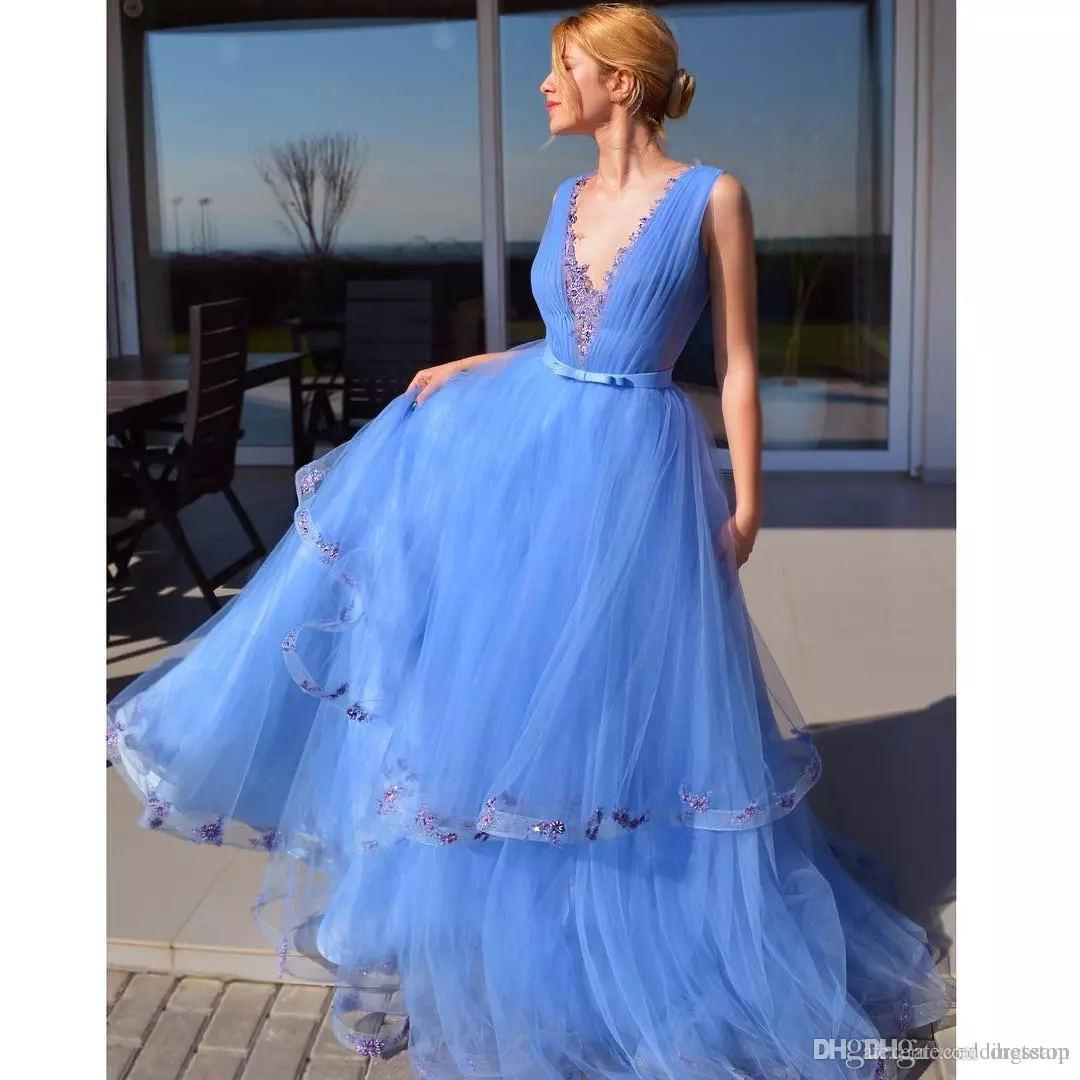 2019 Cinderella Beaded Blue Prom Dresses V Neck Tiered Evening Gowns A Line Vestidos De Fiesta Sweep Train Tulle Pleated Formal Dress