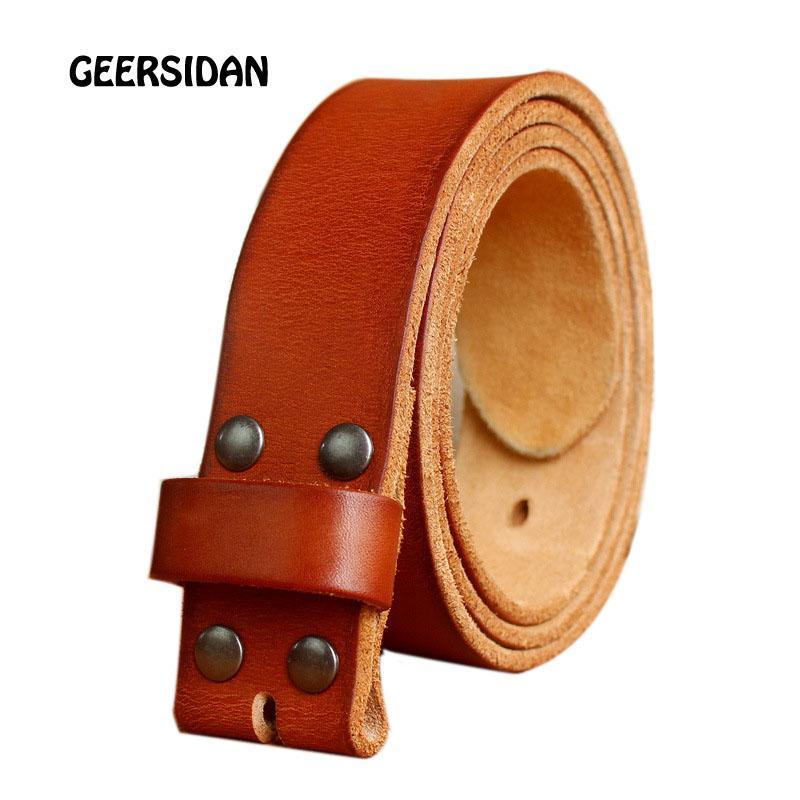 81a6528b2d2 Compre GEERSIDAN Ancho De Los Hombres 38 Mm 100% Cinturones De Cuero  Genuino De Grano Completo Para Hombre Marca De Moda Correa Jeans Vintage  Cinturones Sin ...