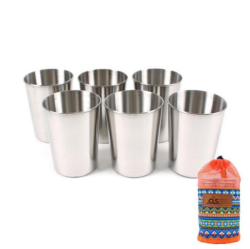 Açık 304 Paslanmaz çelik 6 Parça Fincan Büyük Kamp Taşınabilir Bira Bardağı Set Beyaz Bar Ev Fincan 301-400 ml