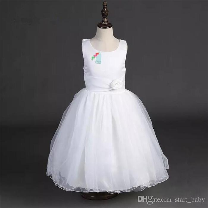 Girls Tutu Dress for Birthday Wedding Party Girls Sleeveless Princess Dress Chiffon Dress with Rose Flower Belt Ribbon Bow hot B11