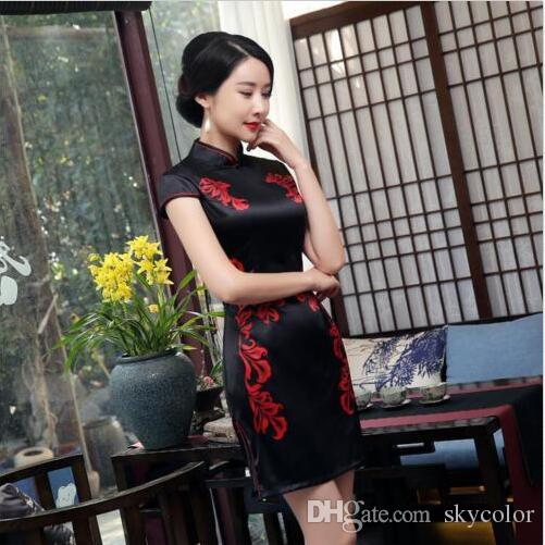 67e226490f Black Chinese Women S Silk Satin Mini Dress  Cheongsam Evnening Dress 6 14  Short Prom Dresses Semi Formal Dresses From Skycolor