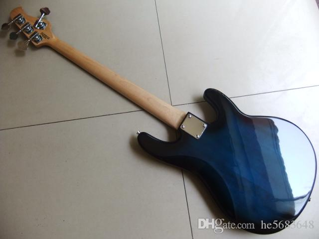 !Wholesale Newl Left Handed 4 string electric bass guitar musicman bass top quality Bass guitar in blue 110619