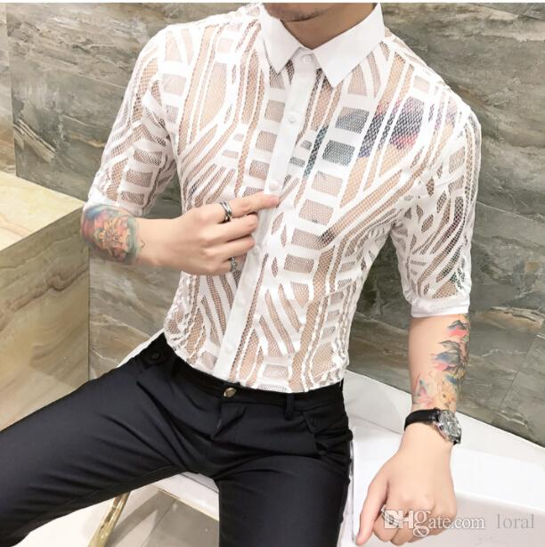 Mens Sexy Clothing Solid Color Casual Shirts Hollowed out Long Sleeve Male Night Shirt