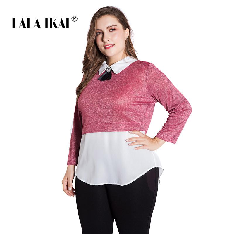 bdc4c973af LALAIKAI Plus Size XL 2XL 3XL 4XL 5XL 6XL Pure Color Patchwork Tshirt Women  Full Sleeve Tee Office Work Tops Ladies SWA1528 47 Cool Funny T Shirts On T  ...