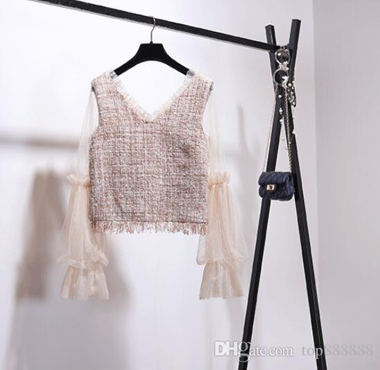 Femmes en coton de laine OL set Boutique luxe classique célèbre marque sexy rétro dames Cachemire Velvet laine v-cou dentelle tweed jupe costume costume