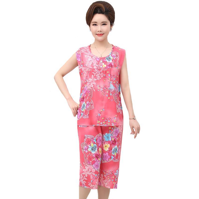 Lady Print Floral Sleepwear Set 2018 Summer Cotton Cami+Shorts Casual Home  Wear Loose Pajama Pyjama Suit Oversize 3XL 4XL Pajama Sets Cheap Pajama Sets  Lady ... 1477b7285