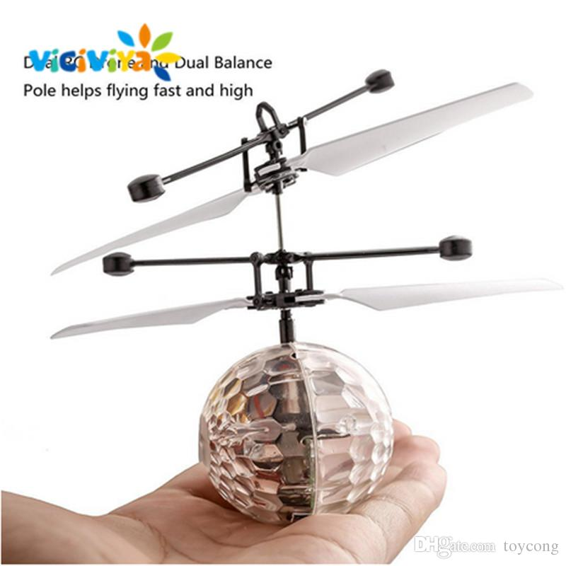 Superior LED Lighted Toys Colorful Mini Drone Shinning LED RC Flying Ball Helicopter  Sense Light Crystal Ball Induction Toys For Children Kids.