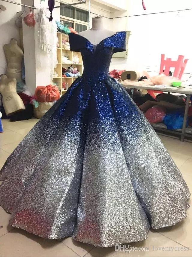 Stunning Navy Gold Prom Evening Dresses 2019 Sequined Dress With Short Sleeve Gradient Ombre Designer Ball Gowns For Women Formal Pageant