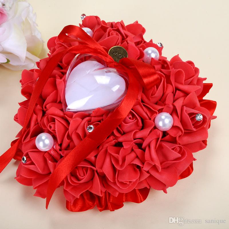 2018 Romantic Crystals Rose Flowers Ring Box Heart Shape Cheap Wedding Jewelry Case Ring Bearer Pillow Cushion Holder Red Ring Pillow