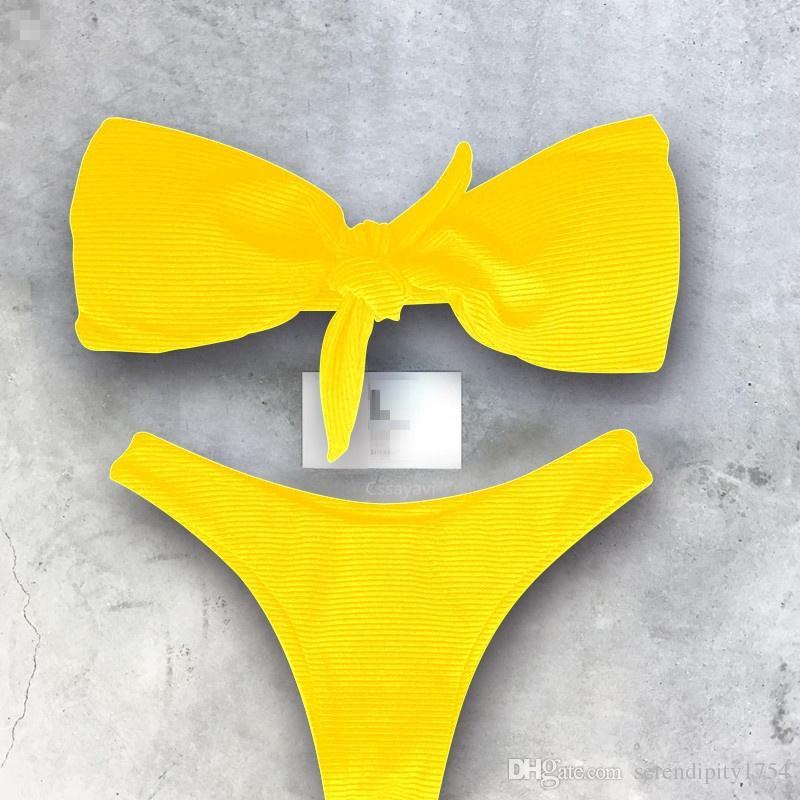 72fc5f4df Compre Bandeau Women Bikini Set Push Up Bikinis Acolchado Halter Bikini  Strapless Swimsuit Traje De Baño Traje De Baño Rojo Amarillo Blanco Trajes  De Baño ...