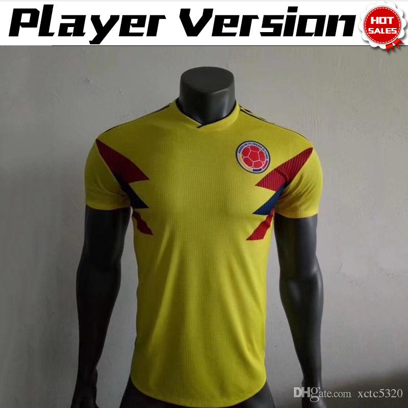 check out 74a33 2d1b1 Player Version 2018 World Cup Colombia National Team Jersey Colombia Home  yellow Soccer Jerseys 2018 World Cup #10 JAMES Falcao Shirts