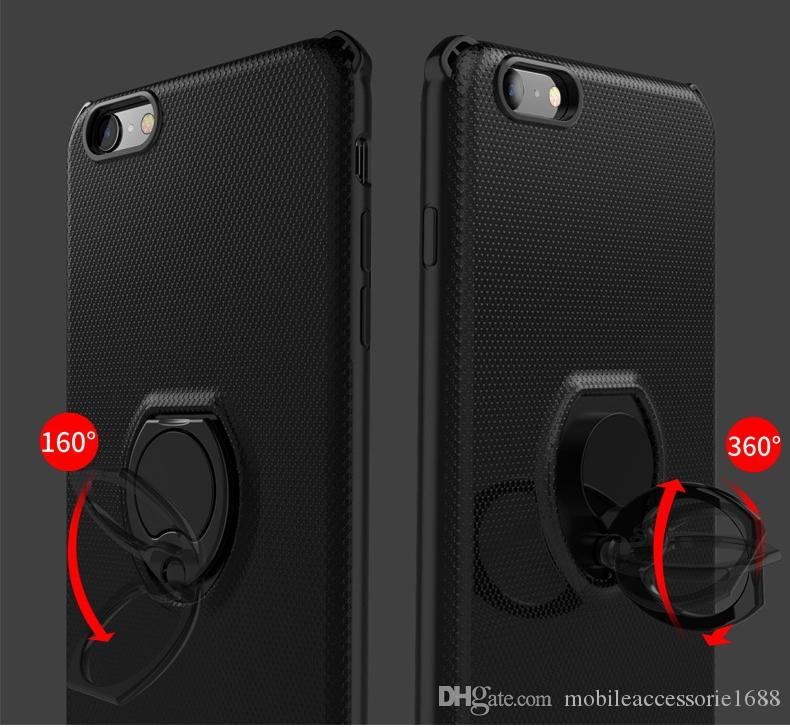 2018 new cheap Cell Phone Case Metal Ring Bracket TPU+PC 2in1 ShockProof Back Protective Cover for iphone X