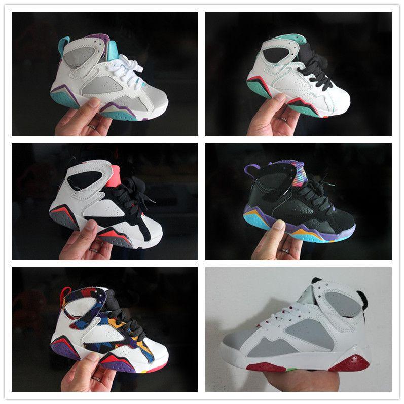 553f64f2fae Compre Nike Air Jordan Aj7 2018 Marca Meninos Meninas 7 S OG Gato Preto  Sapatos De Basquete Calçados Esportivos Para Crianças Crianças Crianças  Cesta Bola ...
