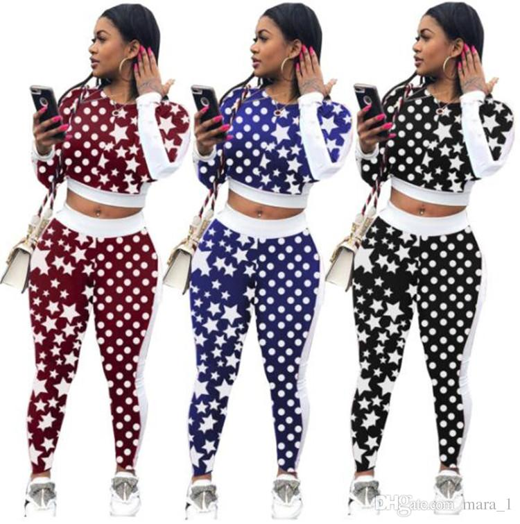 8f50db2146a44 2019 Women Crop Tops Hoodies Two Piece Outfits Pot Star Print Tracksuit  Sweatshirts Leggings Set Skinny Shirts Pullover Pants Women Clothes From  Mara_1, ...