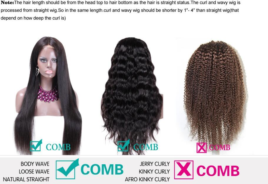 High Quality Brazilian Virgin Human Hair Kinky Curly Black Dark Brown Natural Color Glueles Full Lace Wigs For African American Women