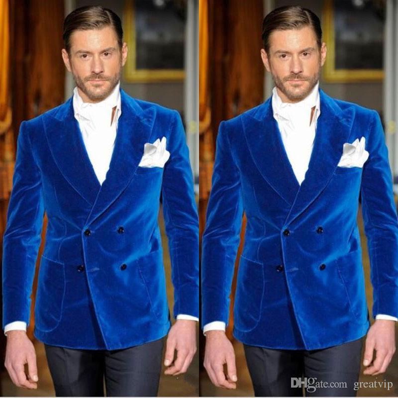 Royal Blue Velvet Mens Suits Groom Tuxedos Groomsmen Peaked Lapel ...