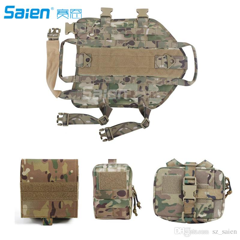 f0afcfada1f 2019 Tactical Dog Molle Vest Harness Training Dog Vest With Detachable  Pouches From Sz saien