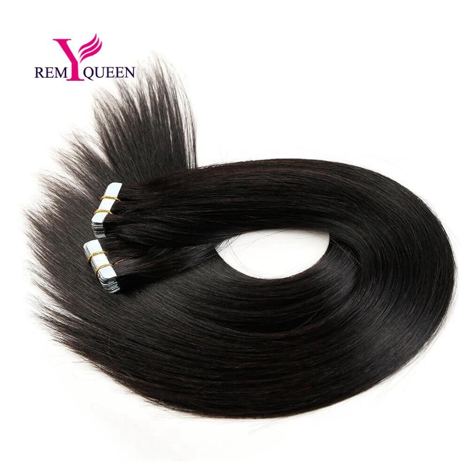 Dream Remy Queen 100% Extensiones de cabello humano Cinta de pelo 40 unids / set 20 unids / set 1 # 1B # 2 # 4 # pelo de color oscuro
