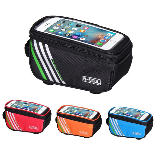 B-SOUL 1.5L/5.5 inch Touch Mobile Phone Waterproof Bicycle Bag Front Bike Frame Tube Storage Bags Cycling Bag Bicycle Accessorie