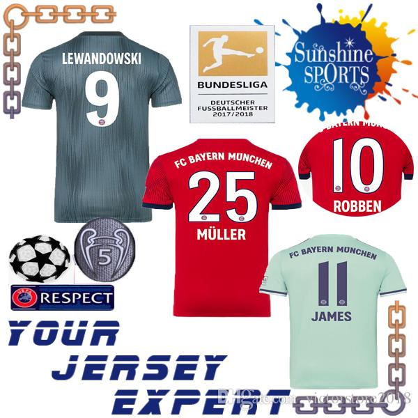 Wholesale Bayern Munich 18 19 James Soccer Jersey Home Red 2019 Muller Away Green  Hummels Vidal Lewandowski Muller Robben 2018 Third Black Sweatshirt By ... 8afe6ac71