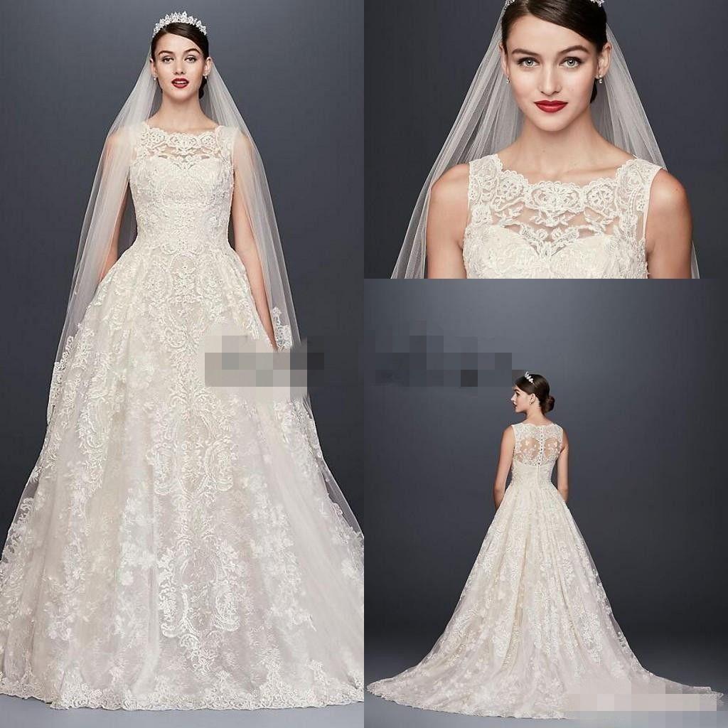 Discount Oleg Cassini Beaded Lace Wedding Dress With Pleated Skirt ...