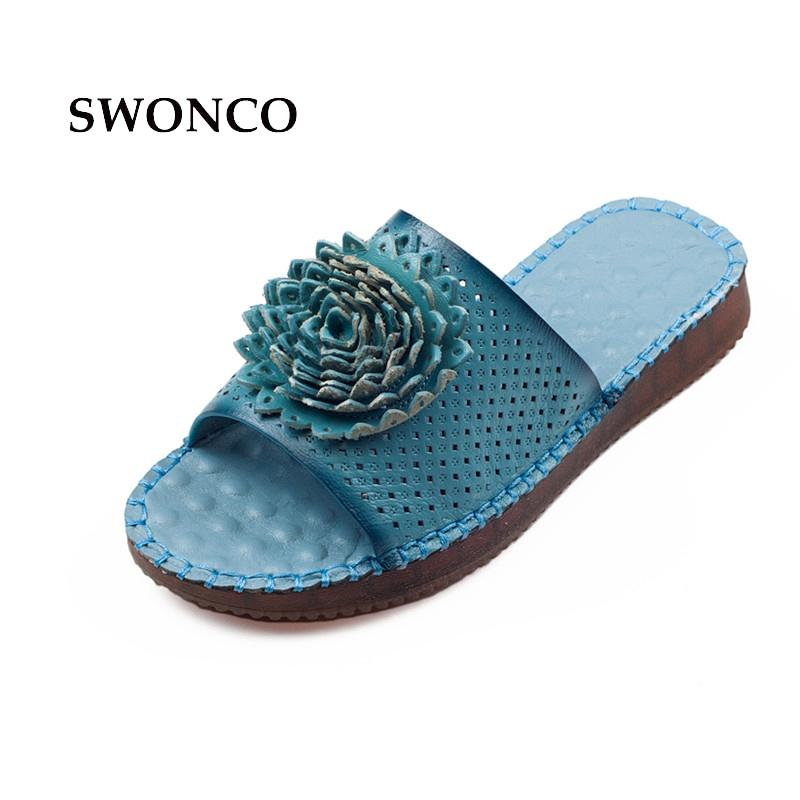 8dbdf8351 SWONCO Women s Slippers 2018 Summer Genuine Leather Handmade Ladies Shoes  Slippers Women Flat Leather Retro Style Mother Shoes Over The Knee Boots  Womens ...
