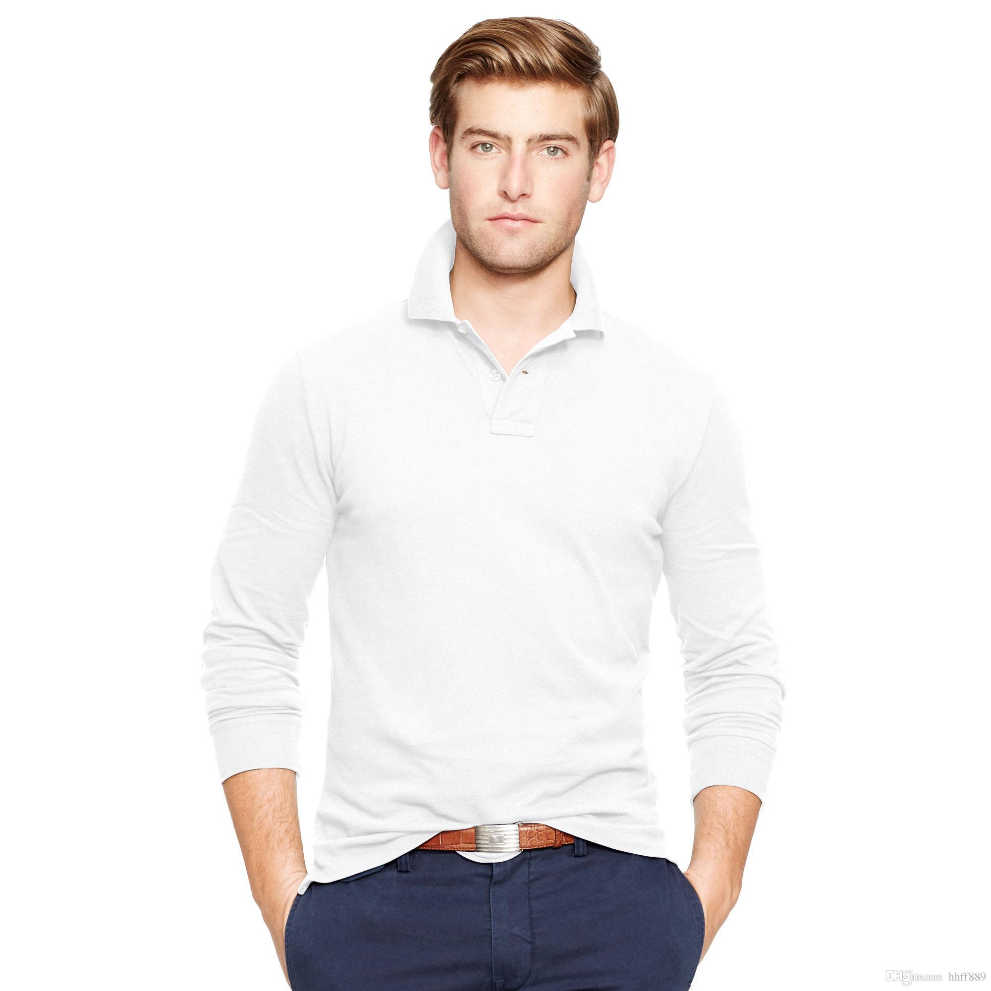 2019 2018 New Hot Sale Polo Shirt Men Big Small Horse Solid Long