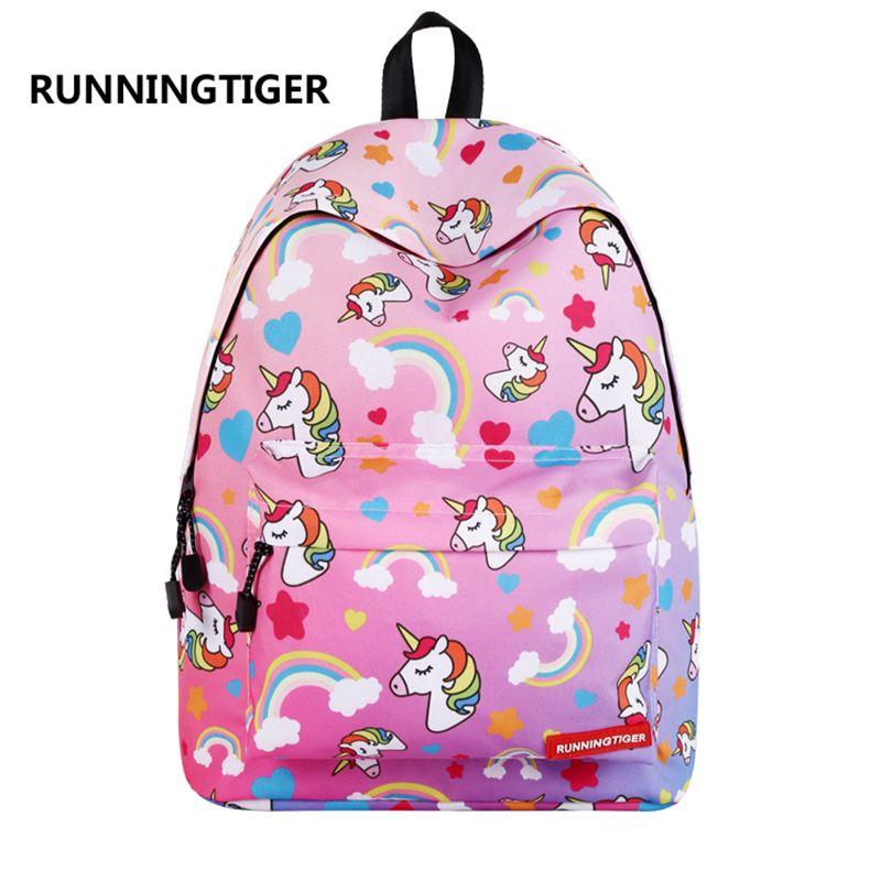 Compre RUNNINGTIGER Lindo Unicornio Impresión Mochila Mujeres Moda Mochilas  Escolares Para Adolescentes Niñas Viaje Femenino Mochila Escolar Y18110201  A ... d6602e1755744
