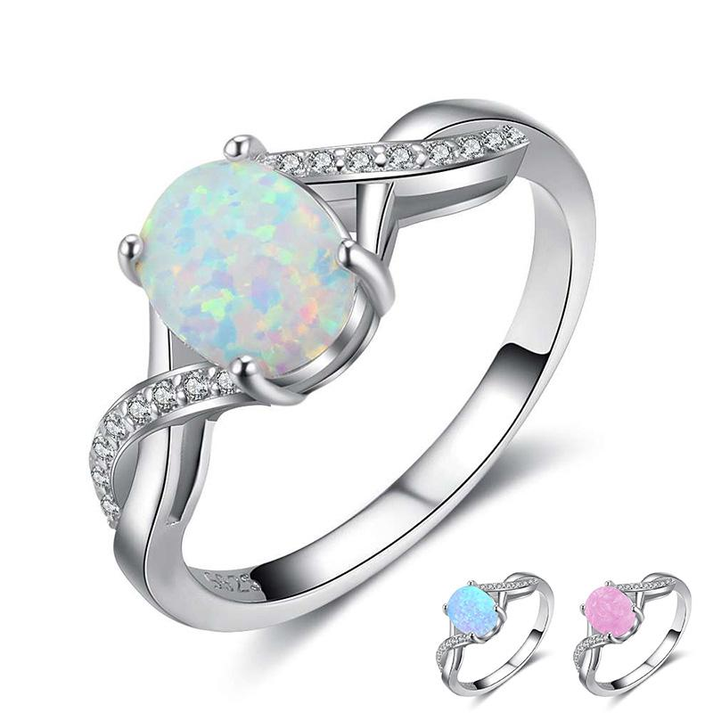 2019 Blue Pink White Fire Opal Ring 925 Sterling Silver Jewelry In