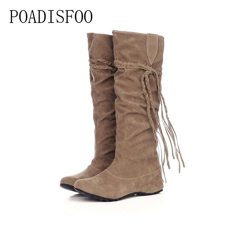 POADISFOO women Leather shoes autumn winter Fringe boots Scrub for women shoes 5 color long boots Increased tassel .XZ-01