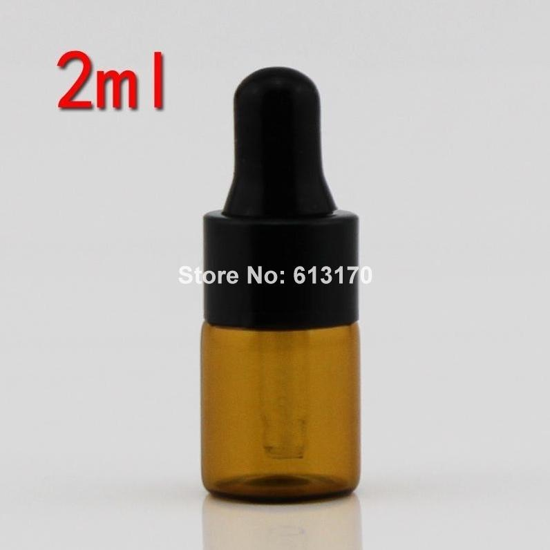 100pcs 2ML Brown Glass Bottles, 2CC Empty dropper bottle Black Rubber Glass Vial,Essential Oil bottles Cosmetic Makeup container