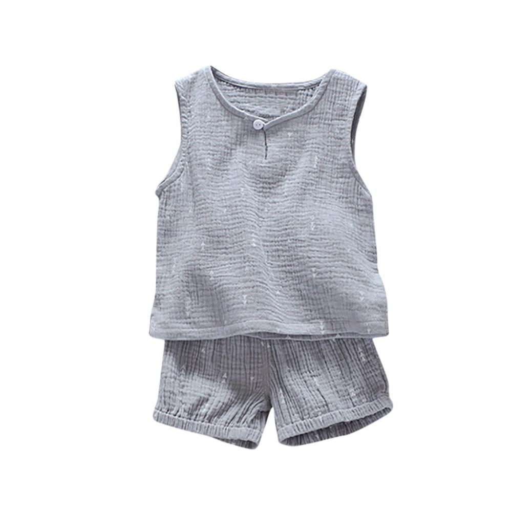 48bb75cf1784 2019 Cotton Linen Boys Girls Clothing Set Toddler Kids Baby Boy 2018 Summer  Sleeveless Vest Tops + Shorts Children Clothes From Sophine13