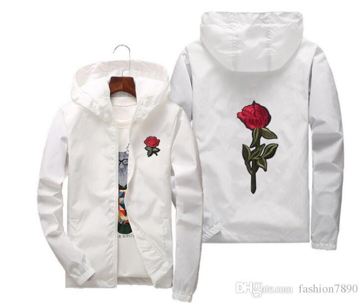 Spring oversize Rose Jacket Windbreaker para hombres y mujeres jóvenes amantes de la universidad informal White Black Roses Outwear tamaño de la capa