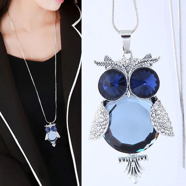 76d946e6811c Compre Moda Collar Largo Azul Piedra Búho Collares Colgantes Bijoux Femme  Crystal Joyería De Fantasía Collares Para Las Mujeres A  3.17 Del  Benaccessories ...