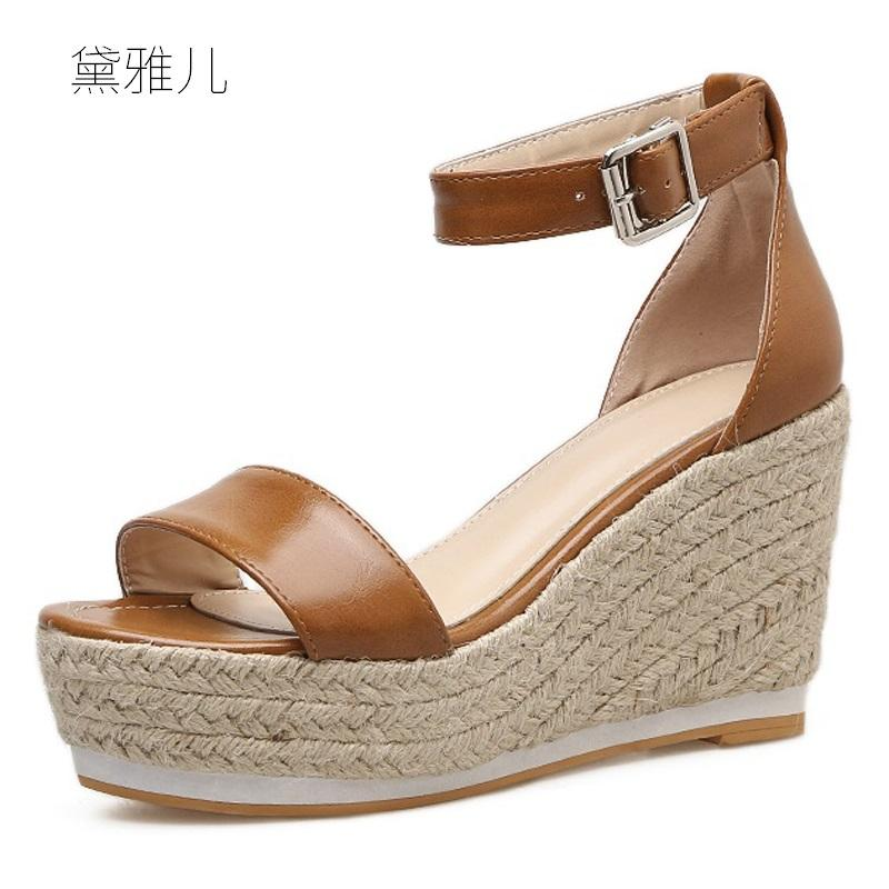 99e666c84a6 2018 Summer Style Fashion Brown Sexy Wedges Ultra High Platform Heels  Sandals For Women S With Female Shoes Woman Ladies Black Bamboo Shoes High Heels  Shoes ...