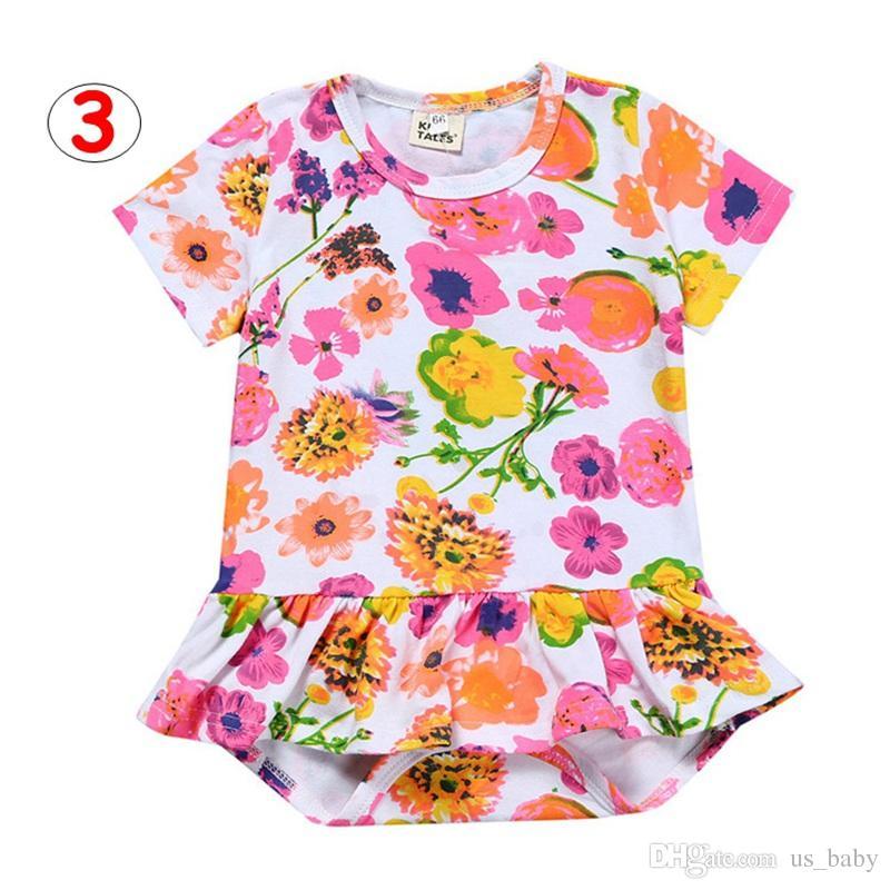 Новорожденный Цветочный принт Romper Baby Boys Девушки Лето Хлопок Комбинезон Детские комбинезоны Комбинезоны 5 цветов для 3M-3T