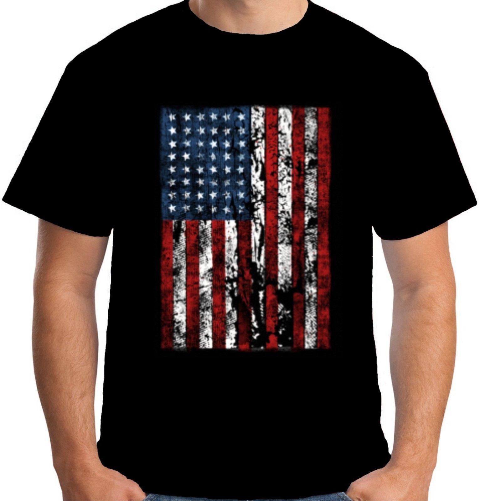 Grosshandel Velocitee Mens American Flag T Shirt Usa Sternenbanner