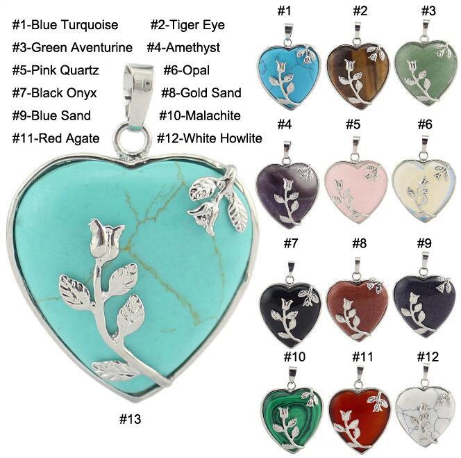JLN Herz Blume Anhänger Halbedelstein Lapis Kristall Quarz Weiß Howlith Onyx Türkis Halskette mit 18 Zoll Messingkette
