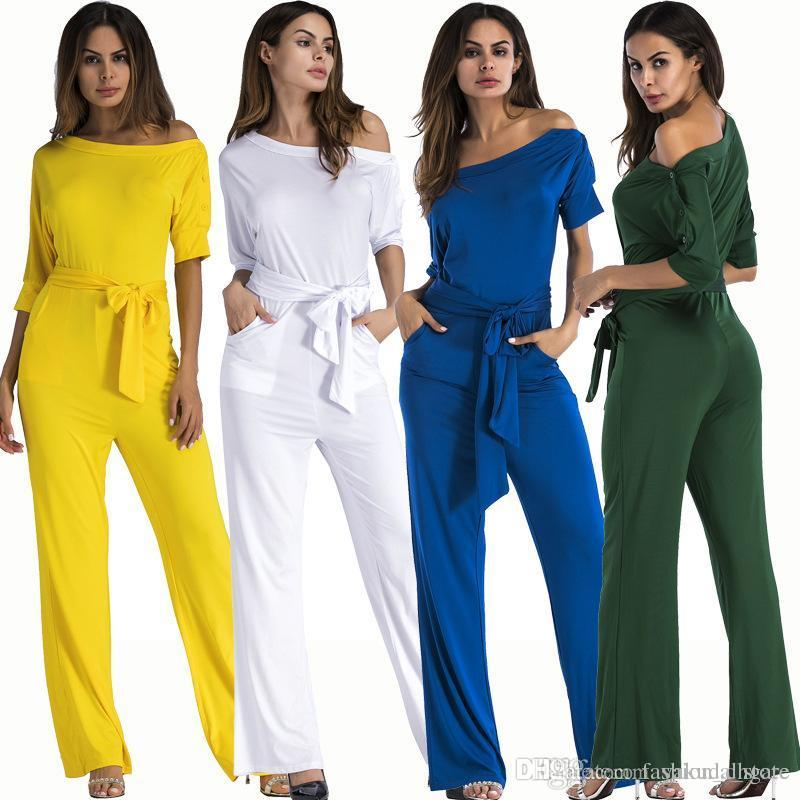 ba7be526311 2019 Full Length Jumpsuits Romper Women Overall Sexy One Shoulder Bodycon  Tunic Jumpsuit For Party Elegant Wide Leg Pant Body Femme 2018 From  Fashion dhgate ...