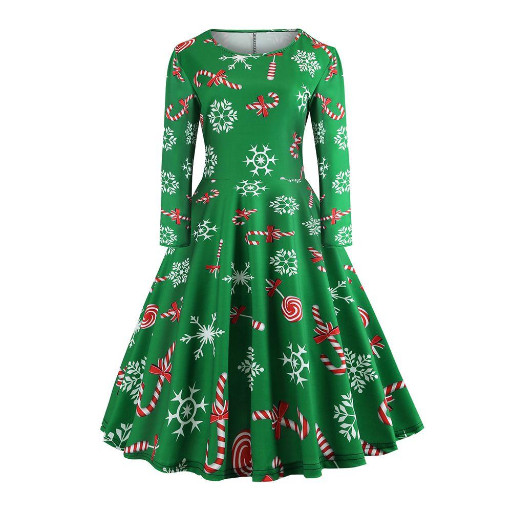 e342ece91 2018 Vintage Christmas Green Cute Lovely Women Dresses Loose Animal ...