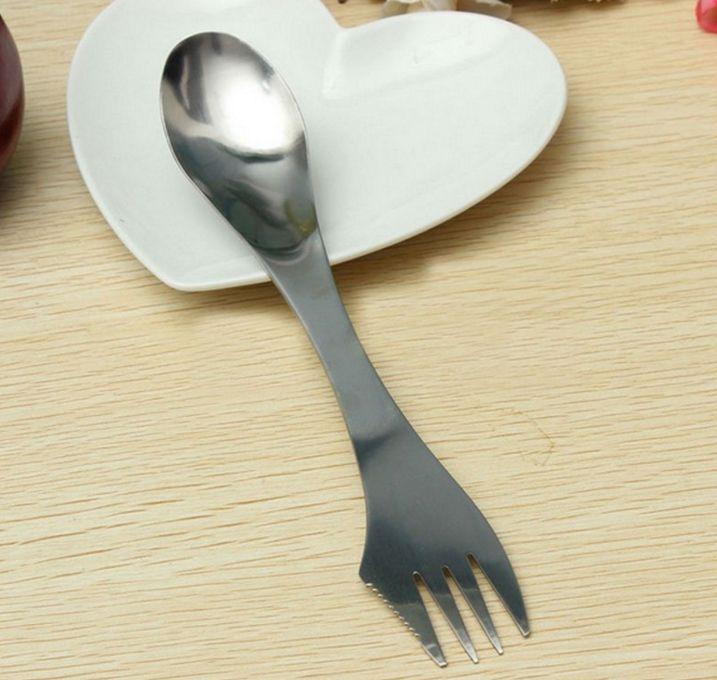 Grid Fork Spoon Spork 3 in 1 Tableware Stainless Steel Cutlery Utensil Combo Kitchen Outdoor Picnic Scoop/Knife/Fork Set