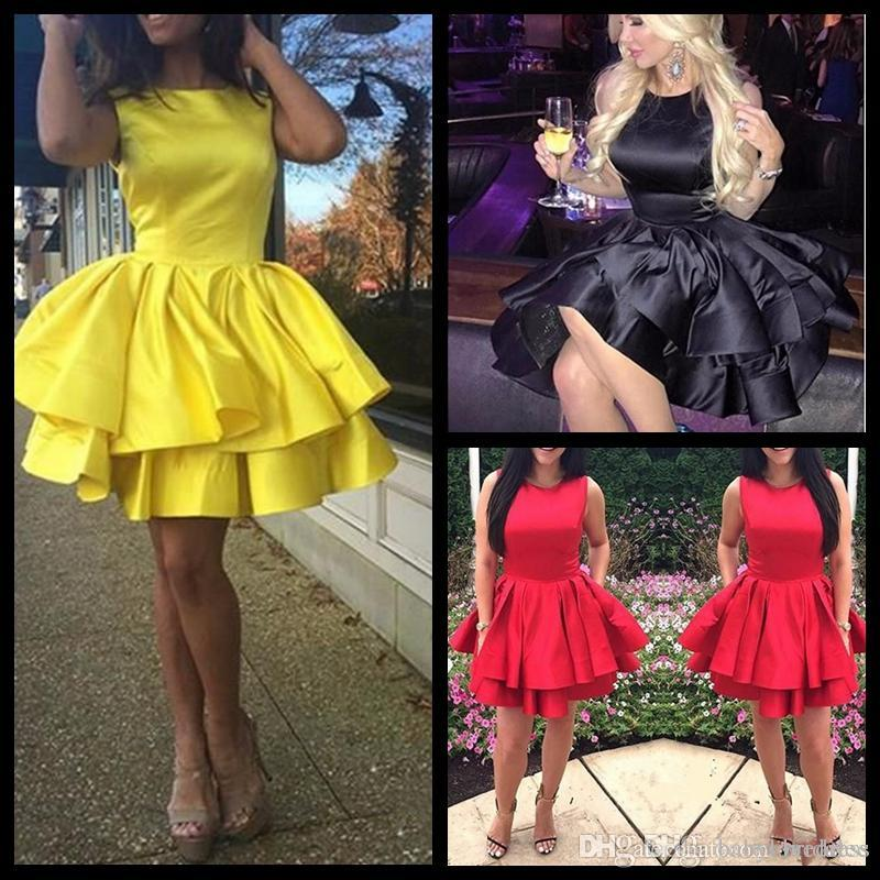 Simple Yellow Puffy Homecoming Dresses Cheap Satin Ruffle Tiered 8th