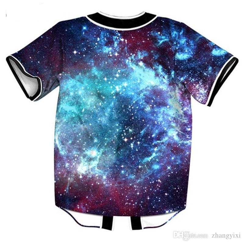 Wholesale 3D Baseball Jersey Space Digital Galaxy Print Men T Shirt Casual Hip Hop Tee Shirt