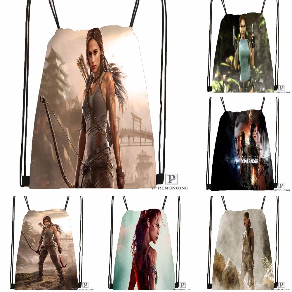 Custom Tomb Raider Drawstring Backpack Bag for Man Woman Cute Daypack Kids Satchel (Black Back) 31x40cm#180531-01-33
