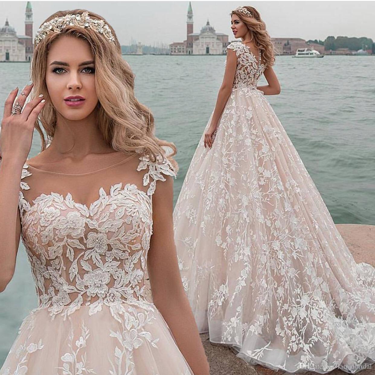 2019 Cap Sleeve 3D Applique Wedding Dresses Bridal Gown Lace Applique  Champagne Elegant Bridal Dress Vestido De Noiva Beautiful Dresses Boutique  Dresses ... c7c0942cc5c4