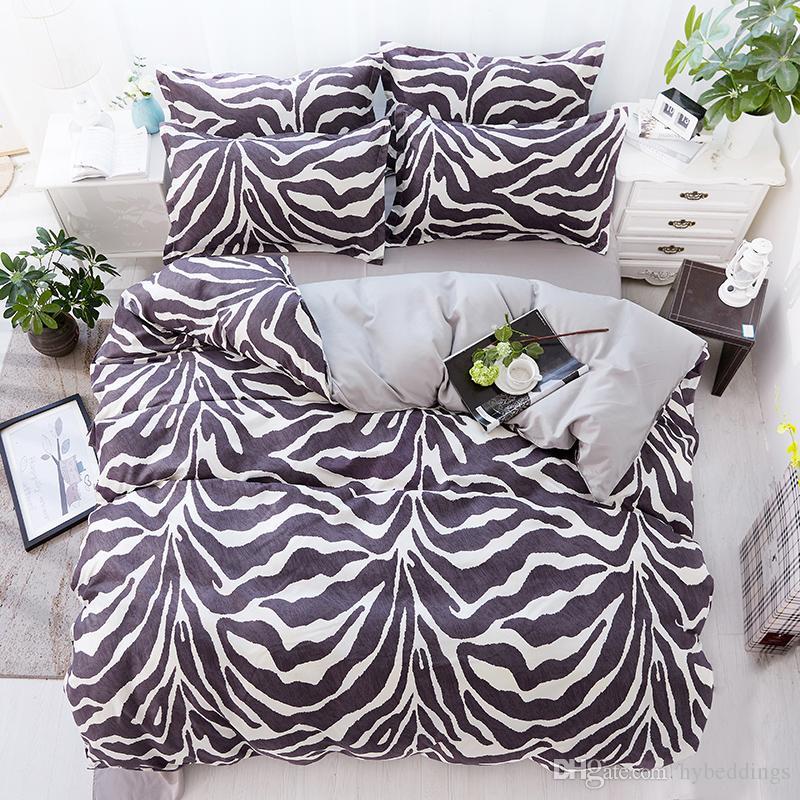 Zebra Stripe Bedding Set Black White Duvet Cover Bed Set Single