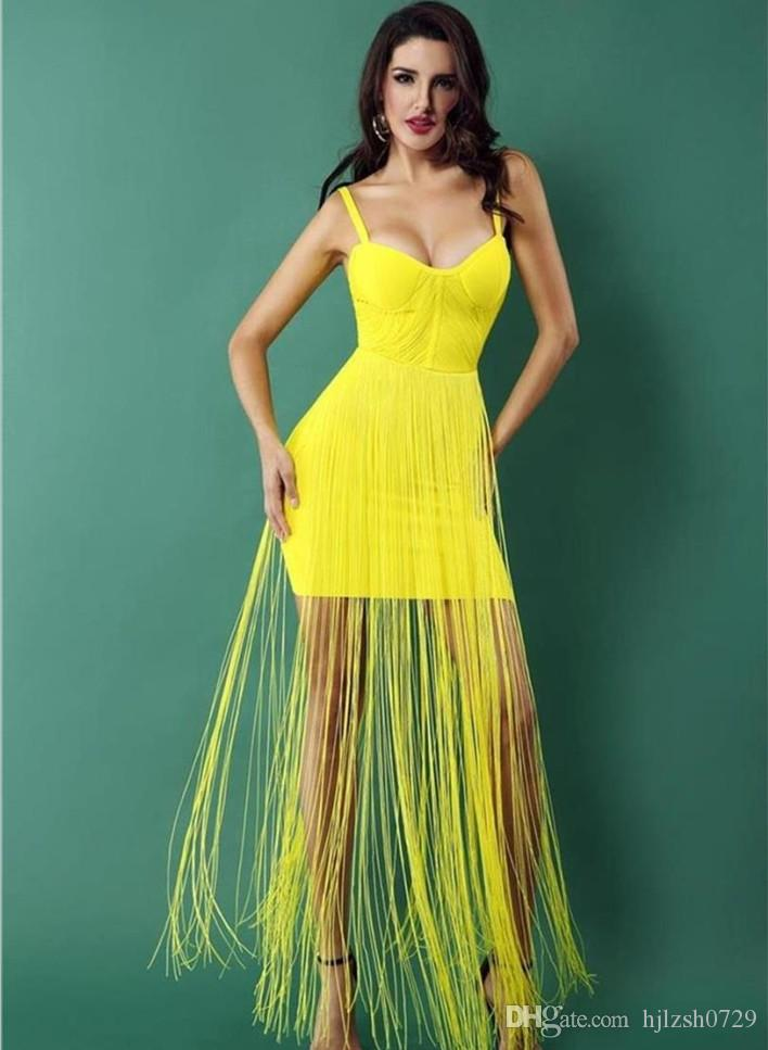 ebbb0dc9e0cf3 New trend personality women s long tassel strap dress bandage skirt sexy  slim tube top word collar dress Party Dresses